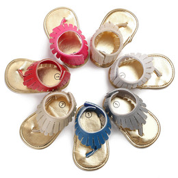 Wholesale Green Color Baby Shoes - 2018 summer leather Tassel baby sandals boys girls toddler casual shoes Multicolor high top baby shoes wholesale newborn floor shoes B11