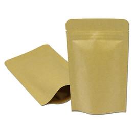 Wholesale Paper Tea - DHL 600Pcs  Lot 9*14cm Doypack Kraft Paper Mylar Ziplock Storage Bag Stand Up Paper Aluminum Foil Tea Biscuit Package Pouch