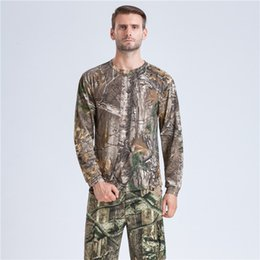 2019 camouflage langarmhemd uniform 2017 Jagd Basisschichten Camouflage Langarm Baumwolle T-shirt Uniform Kampf Kleidung Taktische angeln jagd kleidung günstig camouflage langarmhemd uniform