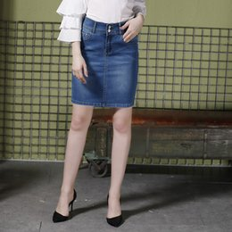 1c1a0a30e0 2018 Summer Women High Street Fashion Slim Empire Washed Vintage Denim  A-Line Bodycon Hot Skirts Ladies Plus Size Jeans Spodnica ladies knee  length denim ...