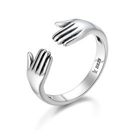 85bb6bf4dcaf Genuino plata de ley 925 de doble capa Give Me A Hug mano abierta anillos  de dedo para mujeres Sterling Silver Jewelry SCR136
