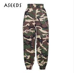 militares moda de Pantalones Cadena pantalones 2019 moda Mujeres militares ejército negro de mujer de camuflaje gwFY8gZqx