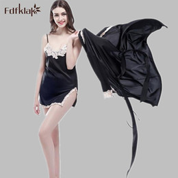 Wholesale Black Silk Suspenders - Fdfklak Sexy 2017 New Arrival Brand Silk Robe & Gown Set Plus Size Two Piece Suspender Sleepwear + Bathing Robe Hot M-XXL E0835