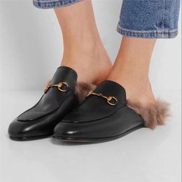 Wholesale Plus Size Rubber - 2018 Rabbit Fur Slippers Princetown Men Driving Loafers Genuine Leather Fashion Moccasins Plus Size 42 43 44 Embroidery Luxury Brand Mules