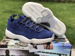 Wholesale Fashion Fur Fabric - Wholesale new 11 Low RE2PECT jeter men basketball shoes blue sports outdoor fashion trainers sneakers top quality with box size 7-13