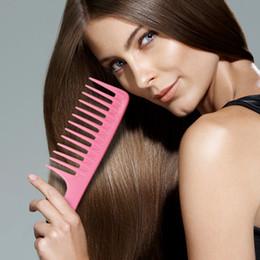 Lange haarperücken glatt online-Wide Teeth Hairdressing Kamm Hair Perücke Kamm für Hairstyling Detangle Big Hair Comb Ideal für langes Haar glatt 24.5cm