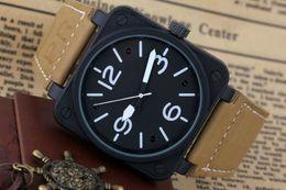 Wholesale Steel Dive Case - White Mens Automatic Mechanical Limited Edition Watch Bell Aviation Men Sport Dive Watches Black Case BR01-92 Black Rubber wristwatch