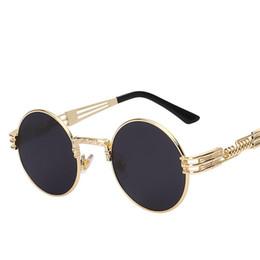 Avvolgere occhiali da sole online-Occhiali da sole Gothic Steampunk di alta qualità Uomo Donna Wrap in metallo Occhiali da sole Tondo Occhiali da sole Designer Occhiali da sole Specchio UV400
