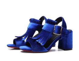 Dimensioni 34 pompe blu online-Romance Sandali Donna Plus Size 34-42 New Fashion Summer Buckle Strap Square Heel Lady pumps Donna Scarpe Nero Blu Rosso