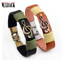 Wholesale Leather Bracelet Music - Wholesale- popular jewelry classic Magnet Leather Bracelets adjustable size Tied rope music note Charm Bracelets for handsome men
