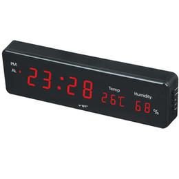 Parete orologio digitale appesa online-Digital LED Hanging Clock With e Igrometro Plug-in LED Cheap Orologio da parete Electronic Alarm Light Display