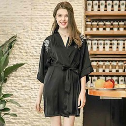 One Size Lady Silky Single Robe Fashion Sexy Spring Summer Silk Like Pajamas  Medium Sleeve Bathrobes Women Girl Nightdress Home Clothes 93ff202a6