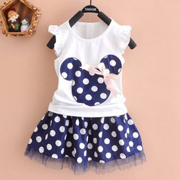 Wholesale Party Shirt Girl Baby - ins Kids Baby Girls Summer Outfits Clothes Sleeveless T-shirt Tops Polka Dot Tutu Skirt Party