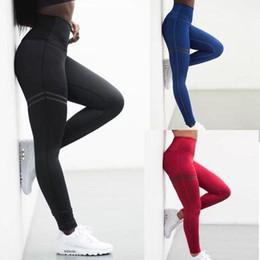 Calça de spandex vermelho on-line-2018 Elastic Apertado Cintura Alta Vermelho Azul Treino de Fitness Sportswear Spandex Calças Leggings Esportes
