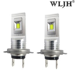 Wholesale Ac Day - WLJH White Led H7 Auto Car Fog LED Driving Lamp Day Running Light DRL 1500lm AC 9V-30V High Quality 80w Bulb