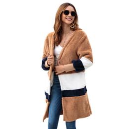 Abrigo de felpa negro online-Otoño Invierno Sweater Women 2018 Punto de alta elasticidad Cardigan Mujeres Suéteres y Mujer Negro Pink Tops Pull Femme Plush Coat S-XL