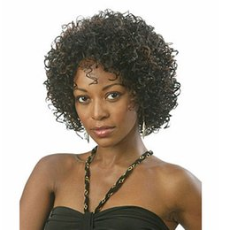 Wholesale High Temperature Fiber Wigs - Amir Black Ombre Brown Short Kinky Curly Wigs For Black Women Synthetic Afro Hair High Temperature Fiber African Hairstyle