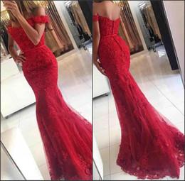 Argentina Palabra de longitud trompeta glamorosa vestido de fiesta de encaje de sirena cinta de cintura fuera del hombro mejores apliques rojos vestidos de noche en línea Suministro