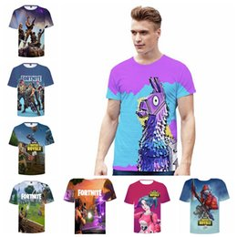 Wholesale nylon tee shirts - Fortnite Game Print 3D T-shirts Student Mens Casual Summer Cotton Short Sleeved Game Funny Tee Tops 17 Styles EEA491 5PCS