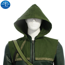 Wholesale Arrow Quivers - cosplay MANLUYUNXIAO Green Arrow Hoodie Cosplay Superhero Oliver Queen Hoodies and Quiver Set Carnival Costume For Adult Men