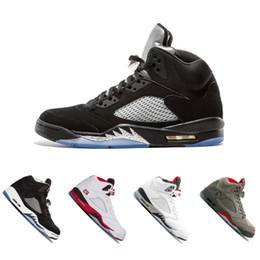 Wholesale grape basket - New 5 5s men Basketball Shoes Premium Bordeaux red Blue Suede Heiress Camo Grey OG Black Metallic Gold white Grapes Cement Sports Sneaker