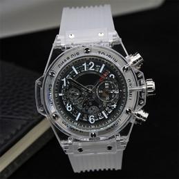 Wholesale Famous Plastic Glasses - Luxury famous HBTO brand men's watch High quality transparent chronograph Sports Military Watches Clock Quartz Men Watches Relogio Masculino