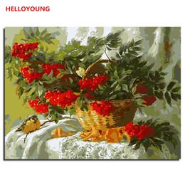 Vasos de pinturas a óleo on-line-Cesta de flores vaso Pintura Digital imagem desenho Pintura por números pinturas a óleo pinturas de rolagem chinesas Decoração de Casa