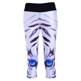 Wholesale Women Tiger Print Pants - Pottis Mid Calf Length Pants Women's Sexy New Leggings White Tiger Blue Eyes 3D Print Women High waist Yoga Pants Trousers