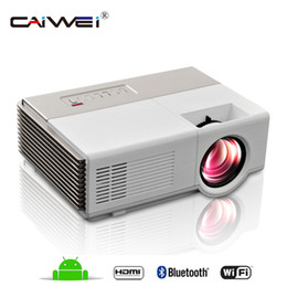 Wholesale Portable Tv Sets - CAIWEI Projector A3A 1500 Lumens LED Mini Projector Set in Android 4.4 WIFI Bluetooth Full hd portable TV home theater