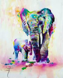lienzo del color del aceite de la pintura Rebajas Cálida pintura al óleo acuarela pintura HD foto impresión lona sin marco cuddle elefante multi-color moderno lindo elefante ilustraciones pintura hecha a mano