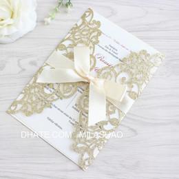 Invito di lusso glitterato oro argento invito a taglio laser con nastro farfalla per diserbo matrimonio battesimo da