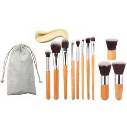 Bambus geschenkset online-Pro 11 Stücke Make-Up Pinsel Kosmetik Werkzeuge Bambus Griff Lidschatten Kosmetik Make-Up Pinsel Set Erröten Kit pincel maquiagem mit tasche geschenk DHL