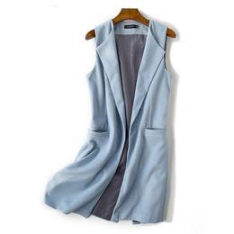 b27b453f05748b New Spring Autumn Lady Medium-Length Long Vest 2018 Women Solid Pockets  Sleeveless Loose Open Stitch Wool Waistcoat Plus Size long wool vest women  for sale