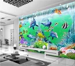 2019 pintura de peces 3d Papel tapiz 3D de la habitación foto personalizada no tejido mural océano corales dolphin fish pintura pintura murales de pared 3d papel tapiz para paredes 3 d rebajas pintura de peces 3d