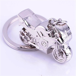 Wholesale Wholesale Mini Motorcycles - Mini Motorcycle Design Cute Key Charm Alloy Metal Personality Men Favor Keychain Retro Locomotive Style Keys Ring 2 7kj Z