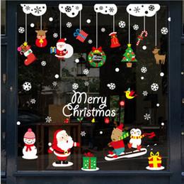 2019 рождественские украшения для магазинов Рождественские наклейки украшения торговые центры окна наклейки сцены макет ПВХ статические наклейки на стены витрины украшения стикер дешево рождественские украшения для магазинов