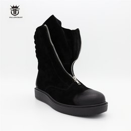 Wholesale Thick Sole Platform - High Top Classic Vintage Black suede Leather Thick Sole Platform Zip Boots Genuine Leather Retro Men Winter Boots