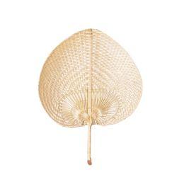 ventilador tradicional china Rebajas Ventiladores de hojas de palma hechas a mano de mimbre de color natural ventilador de la palma del arte chino tradicional regalos del favor de la boda LX0396