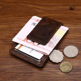 Оптовые мужчины деньги клипы старинные натуральная кожа передний карман зажим для денег держатель Магнит магия деньги клип бумажник с карты ID чехол от Поставщики оптовый волшебный денежный клип
