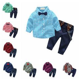 Wholesale Tie Downs Straps - Baby boys gentleman strap outfits Infant Tie romper T-shirt+pant 2pcs set kids Clothing Sets toddler clothes