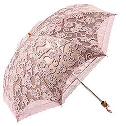 guarda-chuvas femininas Desconto Princesa Sol Umbrella Lace Parasol Guarda-chuva Em Arco UV Criativo Folding Pongee Guarda-chuva das Mulheres Soltas Uv Personalizado
