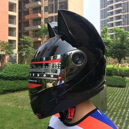 casco completo xxl Sconti 2017 Lovely cat ears Casco moto Black helmet racing Antifog personal design full face e moto casco
