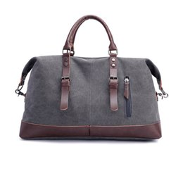 7b7830a43386 Fashion Wohlbag Canvas Leather Men Travel Bags Carry on Luggage Bags Men  Duffel Travel Tote Large Weekend Bag Overnight
