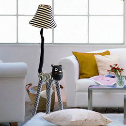 Wholesale Floor Lighting Strips - Christmas gift Hall floor lamp for living room Children room floor light canvas fabric Strip Cat feet Adjustable Stand Lamp
