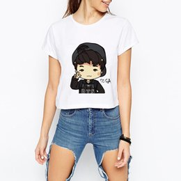 Wholesale Ba Gold - New Fashion T-shirt Girls Women BTS White Cartoon Cute Print Casual BTS Cute summer navel T-shirt BA-lwd23