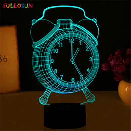 Wholesale Projector Light Clock - Night Lights LED Table Lamp Novelty Fashion 3D 7 Colors Little Clock with Multi-colors as Bedroom Decoration Support Customization