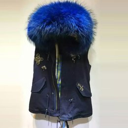 Wholesale Blue Waist Trimmer - New Arrival fur-trimmed more color assortment blue yellow natural thick fur lining big raccoon collar sleeveless vest jacket