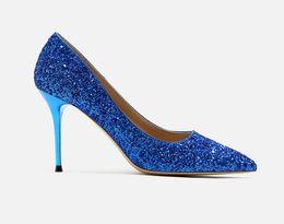 bombas para calçado Desconto Senhoras de salto alto colorido várias cores brilhantes bombas de dança mulheres vestido sapatos brilhando calçado de salto alto para senhoras