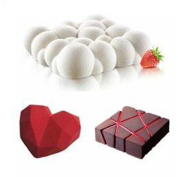 coração de chocolate 3d Desconto Bolo de arte Mold Pan 3D Grade Bloco Nuvens Diamante Coração Mousse De Silicone Silikonowe Chocolate Moule Baking 3 pçs / set