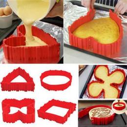 Wholesale diy baking - 4pcs set Cake Bake Snake Cooking Moulds Cake Mold DIY Silicone Cake Baking Square Round Shape Mold Magic Bakeware Tools CCA8480 50lot
